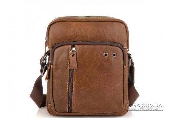 Чоловіча сумка через плече з натуральної шкіри світло коричнева Tiding Bag N2-9003B