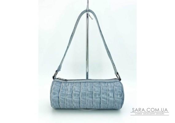 Женская сумка «Бэтс» сероголубой крокодил WeLassie