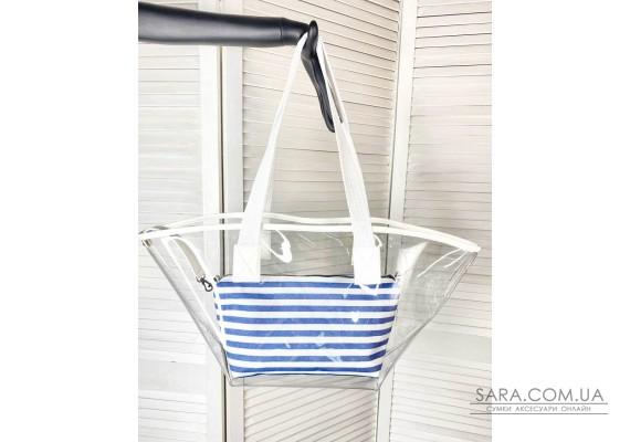 Прозора пляжна сумка з косметичкою білою з синім WeLassie