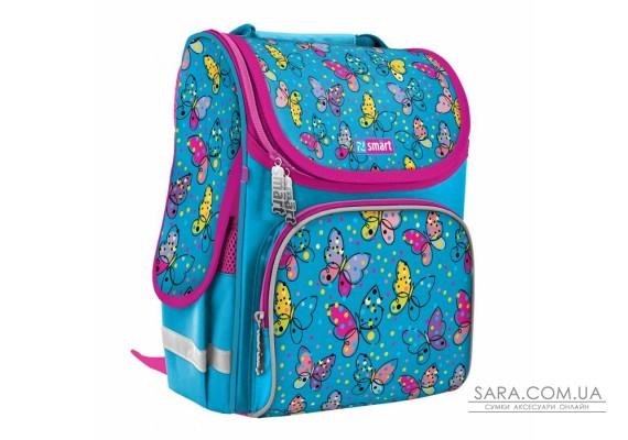 """Рюкзак шкільний каркасний SMART PG-11 """"Bright butterfliesl"""", блакитний"""