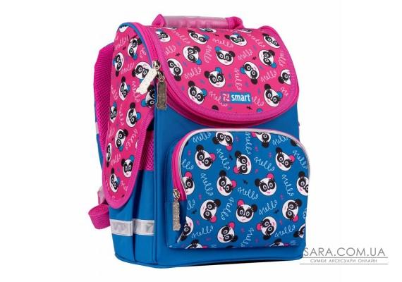 """Рюкзак шкільний каркасний SMART PG-11 """"Hello, panda"""", синій/рожевий"""