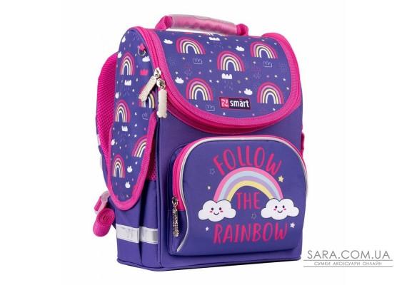 """Рюкзак шкільний каркасний SMART PG-11 """"Follow the rainbow"""", фіолетовий"""