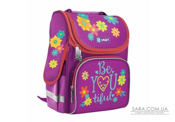 """Рюкзак шкільний каркасний SMART PG-11 """"BeYOUtiful"""", пурпурний"""