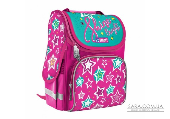 """Рюкзак шкільний каркасний SMART PG-11 """"Shine Bright"""", рожевий/бірюзовий"""