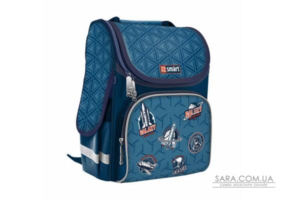 """Рюкзак шкільний каркасний SMART PG-11 """"Galactic"""", синій"""
