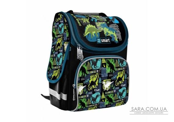 """Рюкзак шкільний каркасний SMART PG-11 """"Dino world"""", чорний"""