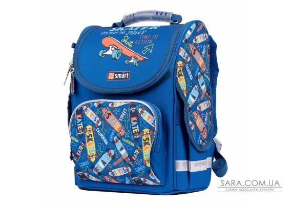 """Рюкзак шкільний каркасний SMART PG-11 """"Skater"""", синій"""