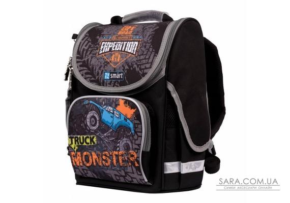 """Рюкзак шкільний каркасний SMART PG-11 """"Monster Truck"""", чорний"""