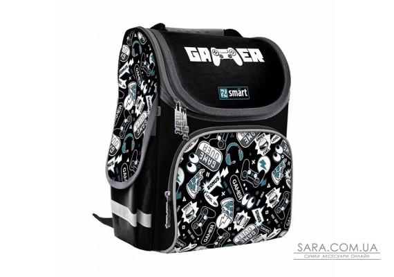 """Рюкзак шкільний каркасний SMART PG-11 """"Gamer world"""", чорний"""