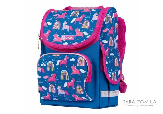 """Рюкзак шкільний каркасний SMART PG-11 """"Unicorn"""", синій"""