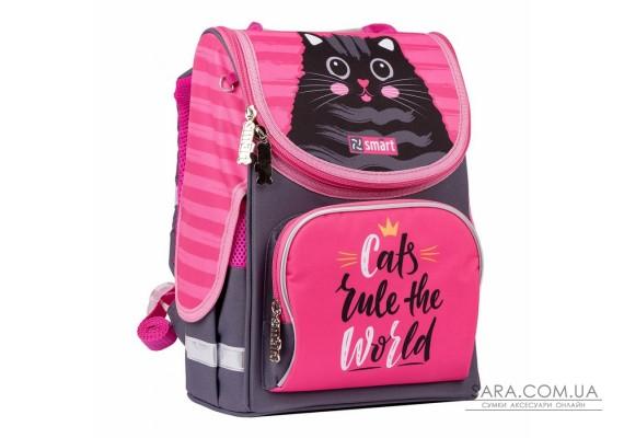 """Рюкзак шкільний каркасний SMART PG-11 """"Cat rules"""", рожевий/чорний"""