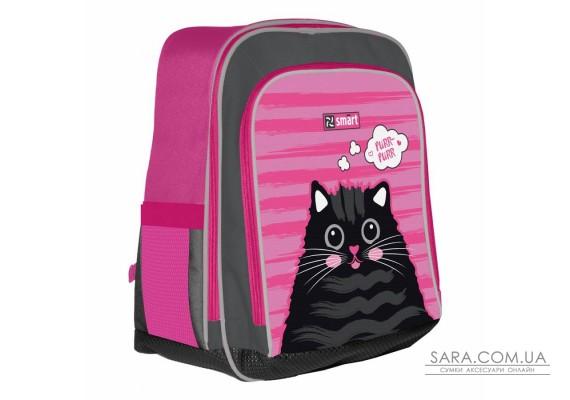 """Рюкзак шкільний SMART H-55 """"Cat rules"""", рожевий/чорний"""