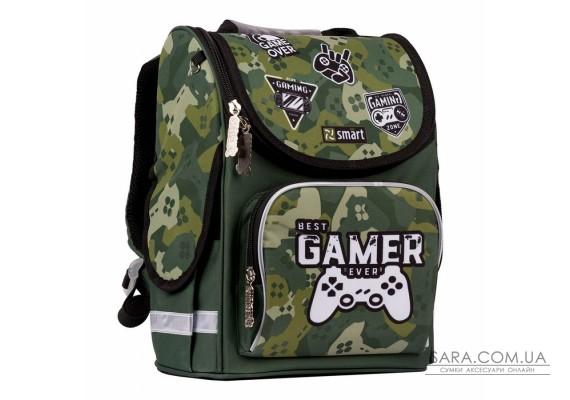 """Рюкзак шкільний каркасний SMART PG-11 """"Best Gamer"""", зелений"""