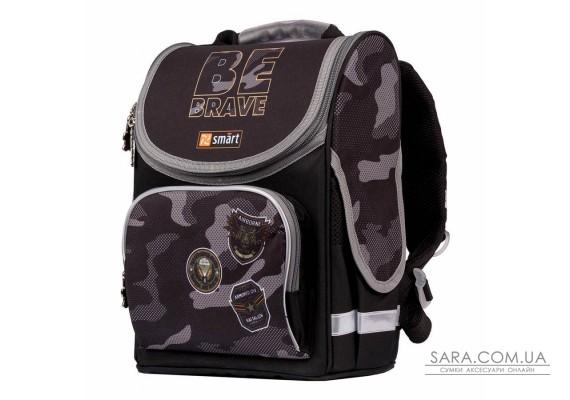 """Рюкзак шкільний каркасний SMART PG-11 """"Be Brave!"""", чорний"""