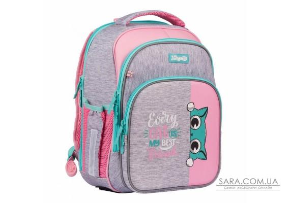 """Рюкзак шкільний 1Вересня S-106 """"Best Friend"""", рожевий/сірий"""