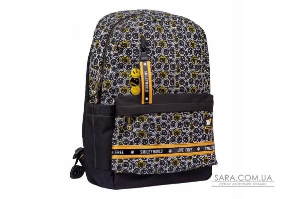 """Рюкзак школьный YES TS-56 """"Smiley World.Black&Yellow"""""""