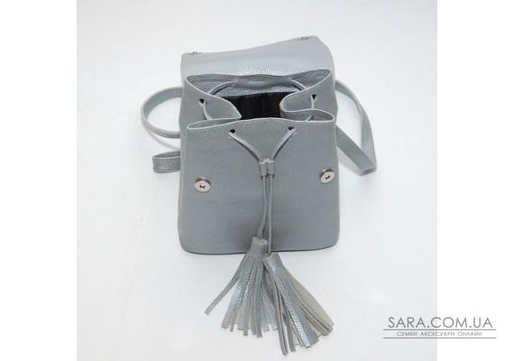 Жіночий шкіряний рюкзак B030107-silver срібло