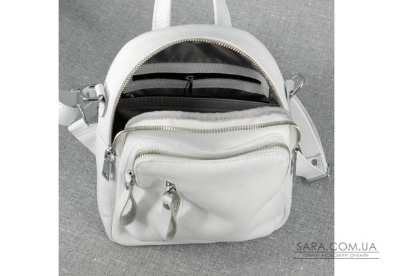Жіночий шкіряний рюкзак B070105-white білий