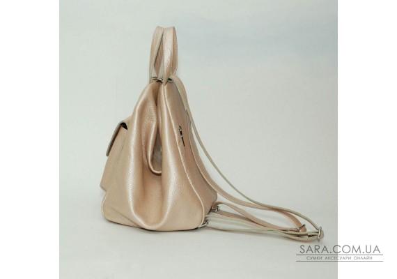 Жіночий шкіряний рюкзак-трансформер B040116-powder пудра