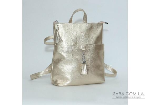 Жіночий шкіряний рюкзак-трансформер B050110-gold золотий