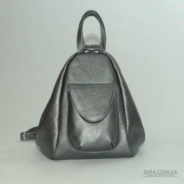 Женский кожаный рюкзак-трансформер B040115-nikel никель