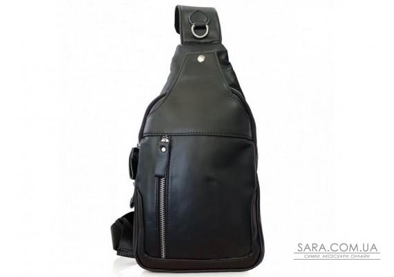 Шкіряний чорний слінг з гладкою шкірою Tiding Bag FL-N2-4004A