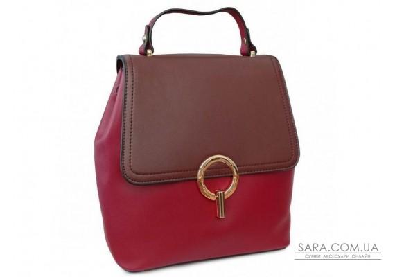 Рюкзак двоколірний червоно-коричневий Olivia Leather F-S-Y01-7002R
