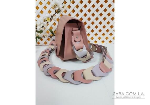 """Сумка женская """"Кенди"""" ремень-плетение натуральная кожа, розовая матовая Anko"""