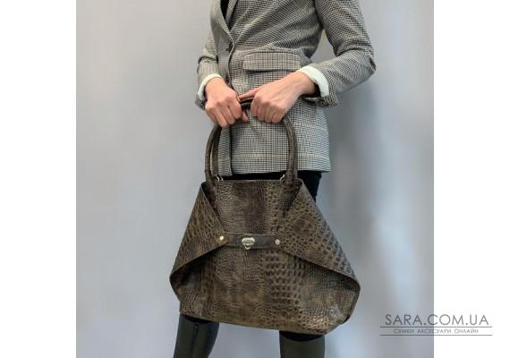 """Женская сумка """"Флай"""" натуральная кожа, коричневая под крокодила Anko"""