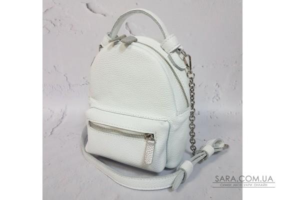 "Рюкзак-сумка ""Мини"" натуральная кожа, белый флотар Anko"