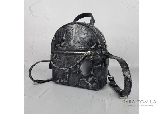 """Рюкзак """"Шайн"""" натуральная кожа, черная имитация под питона Anko"""