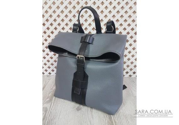 "Рюкзак-сумка ""Бонд"" натуральная кожа, серый флотар Anko"