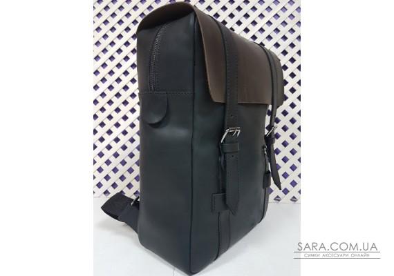 """Рюкзак """"БРУКЛИН"""" натуральная кожа, Crazy Horse черная с коричневым клапаном Anko"""