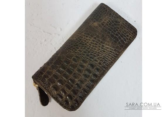 """Портмоне """"Кроко"""" натуральная кожа, коричневая под крокодила Anko"""
