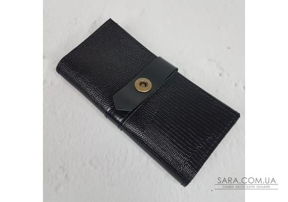 Портмоне на кнопке  натуральная кожа, черная рептилия глянец Anko