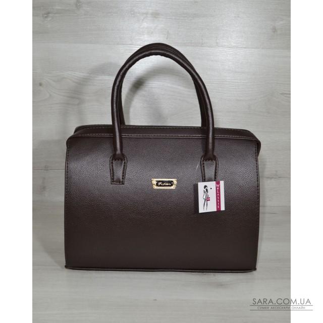 Каркасна жіноча сумка Саквояж коричневий гладкий матеріал WeLassie дешево bbc0aaaf6f05c