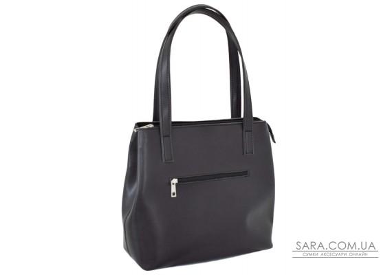 687 сумка екошкіра чорний шоколад Lucherino