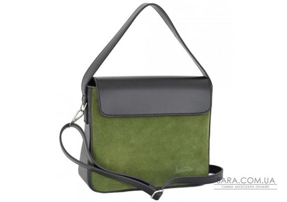 695 сумка замш чорна зелена Lucherino