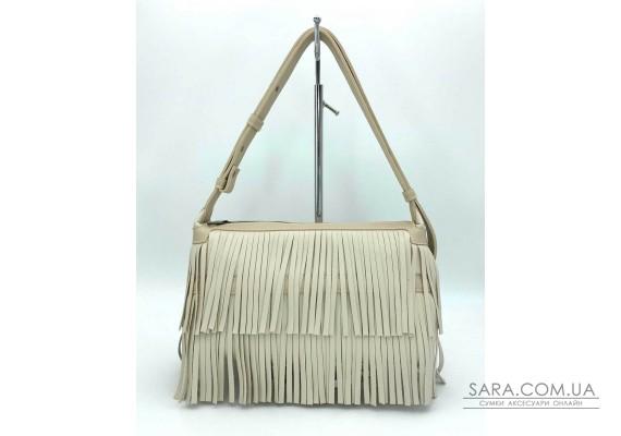 Женская сумка «Догги» бежевая с бахрамой WeLassie