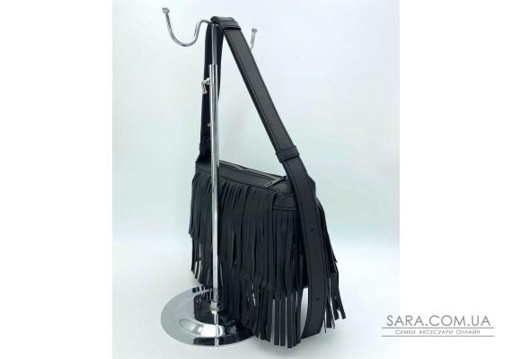 Женская сумка «Догги» черная с бахрамой WeLassie