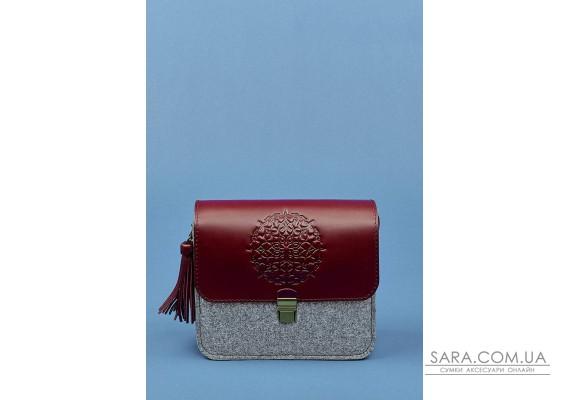 "Бохо-сумка ""Лілу"" фетр+шкіра виноград BlankNote"