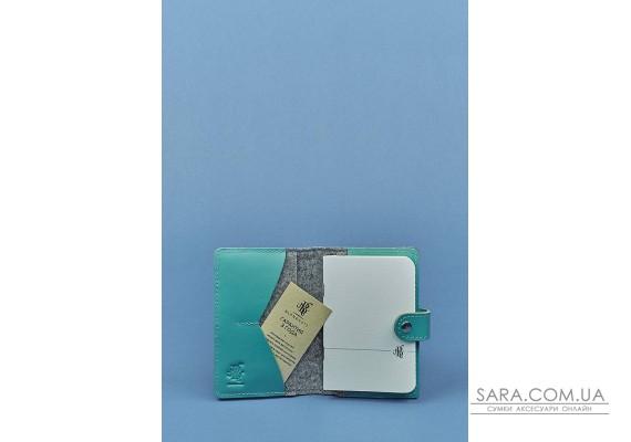 Обкладинка для паспорта 3.0 шкіра + еко-фетр тіффані BlankNote
