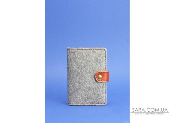 Обкладинка для паспорта 3.0 шкіра + еко-фетр коньяк BlankNote