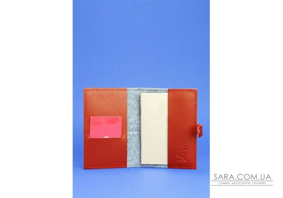 Обкладинка для паспорта 1.1 шкіра + еко-фетр коньяк BlankNote
