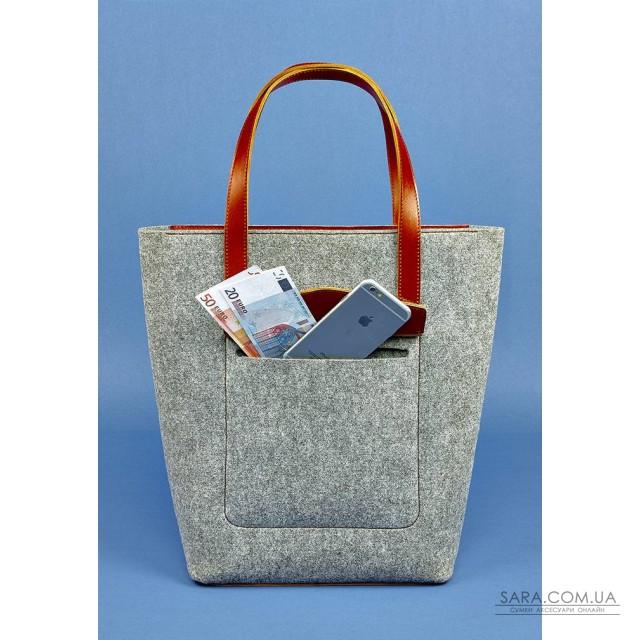 d9d98f675ff7 Купить сумку шоппер D.D. фетр + кожа коньяк BlankNote. Украина