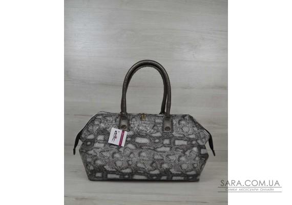 Класична жіноча сумка Олівія сіра змія WeLassie
