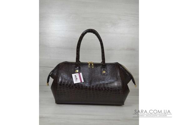 Класична жіноча сумка Олівія коричневий крокодил WeLassie