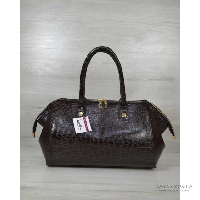 de91e3f7297e Классическая женская сумка Оливия коричневый крокодил WeLassie дешево
