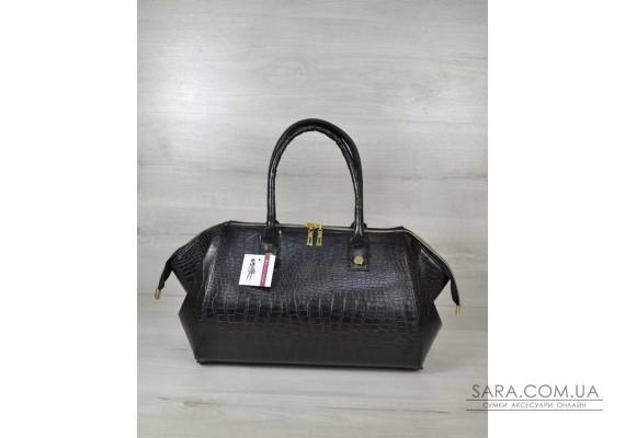 Класична жіноча сумка Олівія чорний крокодил WeLassie