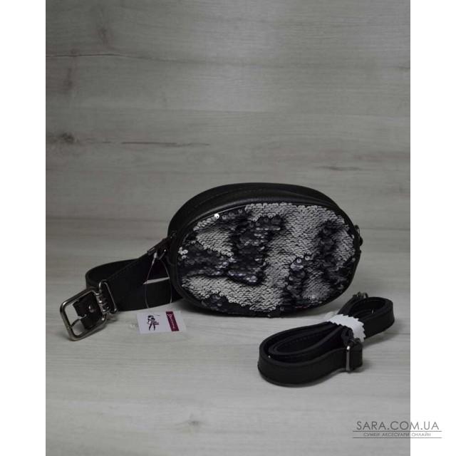 46ec94981e72 Женская сумка на пояс- клатч WeLassie черного цвета Пайетки серебро-черный  WeLassie дешево
